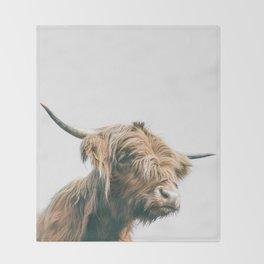 Majestic Highland cow portrait Throw Blanket