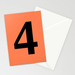 4 (BLACK & CORAL NUMBERS) Stationery Cards
