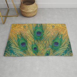 """""""Turquoise and golden peacock"""" Rug"""