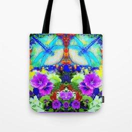 Purple Flowers with Flirting Blue Dragonflies Western Art Tote Bag