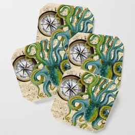 Octopus Compass Green Music Collage Coaster