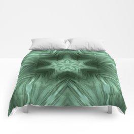 Green Star Flower Blossom Metallic Color #Pattern #Background Comforters