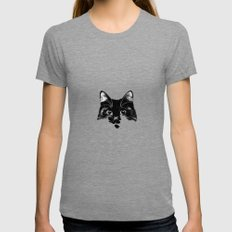 Black & White cat Tri-Grey X-LARGE Womens Fitted Tee
