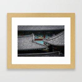 Samgwangsa Temple Murals and Rooftops Framed Art Print