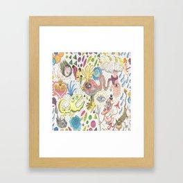 maximalism maximalist pastel pencil surreal fantasy Framed Art Print