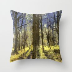 Peaceful Forest Van Gogh Throw Pillow