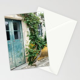 Portuguese door, weathered wood. Plantlife all around Stationery Cards