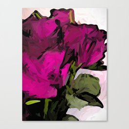 Magenta Roses with Green Stems and Leaves Canvas Print