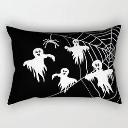 White Ghosts spider web Black background Rectangular Pillow