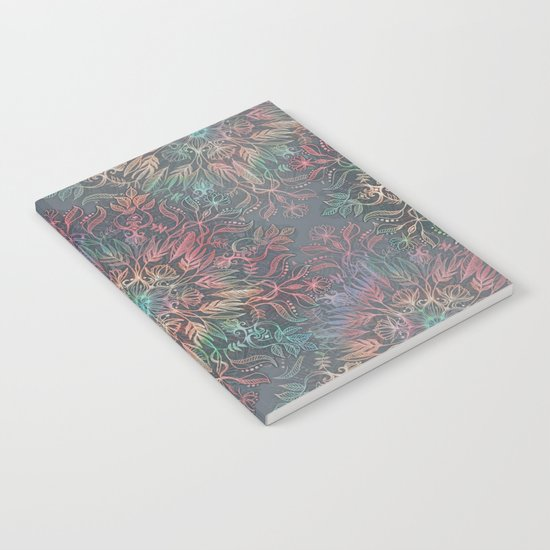 Winter Sunset Mandala in Charcoal, Mint and Melon Notebook