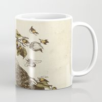 leaves Mugs featuring Great Horned Owl by Teagan White