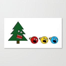 Christmas Tree Chasing Ornament Munchies Canvas Print
