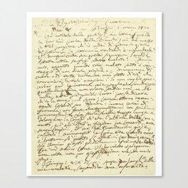 Original Paganini letter Canvas Print