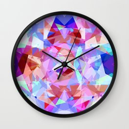 Abstract pink lavender baby blue kaleidoscope pattern Wall Clock