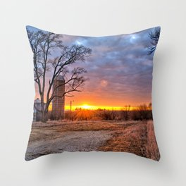 Grain Bin Sunset 3 Throw Pillow