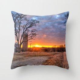 Grain Bin Sunset 3 Throw Pillow