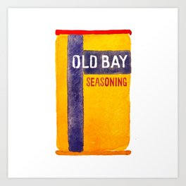 Old Bay Tin Baltimore Crab Watercolor Art Print