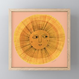 Sun Drawing Gold and Pink Framed Mini Art Print