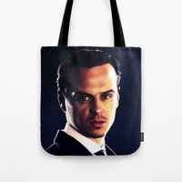 moriarty Tote Bags featuring Jim Moriarty by Kristine Harbek