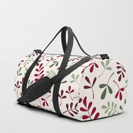 Assorted Leaf Silhouettes Reds Greens Cream Duffle Bag