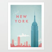 new york Art Prints featuring New York New York by Travel Poster Co.