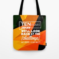 motivational Tote Bags featuring Motivational Quote by Zenife