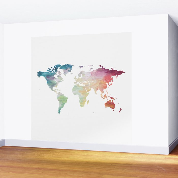 Painted world map wall mural by olaholahola society6 painted world map wall mural gumiabroncs Images