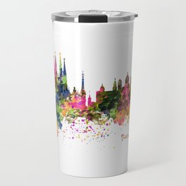 Barcelona Watercolor Skyline Travel Mug