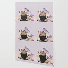 Bird in tea cup Wallpaper