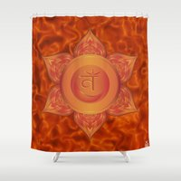 chakra Shower Curtains featuring Sacral Chakra  by Gypsy Owl Productions