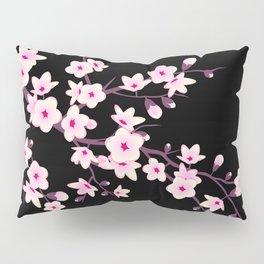Cherry Blossoms Pink Black Pillow Sham