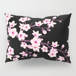 Cherry Blossom Pink Black Pillow Sham