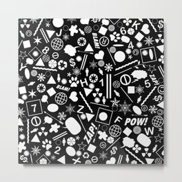 Bits And Pieces In Black And White Metal Print