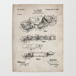 Barber Hair Clippers Patent - Barber Shop Art - Antique Poster