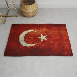 National flag of Turkey, Distressed worn version Rug