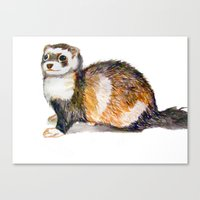 ferret Canvas Prints featuring Ferret by Tesseract