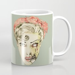 zombie pin-up retro housewife horror rockabilly scarf wearing strong woman Coffee Mug