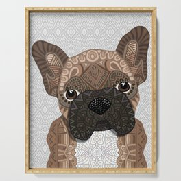 Brown Frenchie Puppy 001 Serving Tray