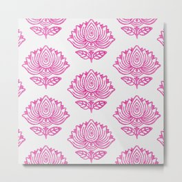 Pink Indian Woodblock Lotus Pattern Metal Print