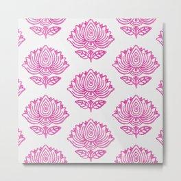 Pink Indian Woodblock Lotus Pattern Metal Print