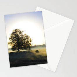 Sunrise in a Rural Hayfield Stationery Cards