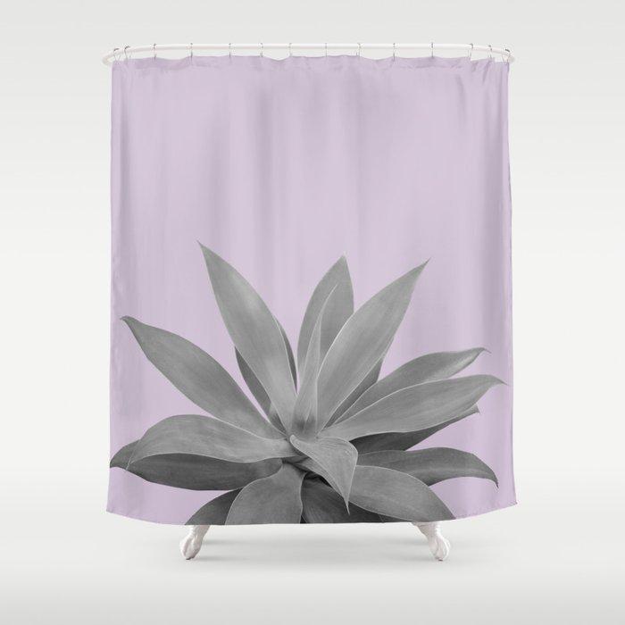 Lavender Gray Agave Vibes 1 Tropical Decor Art Society6 Shower Curtain By Anitabellajantz