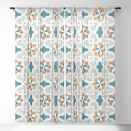 Geometric Pattern, oriental style (nature color set)  traditional morocco tile pattern Sheer Curtain