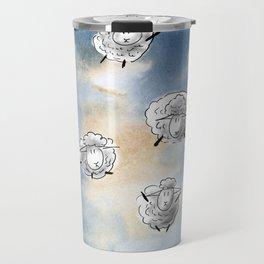 Digital Sheep in a Watercolor Sky Travel Mug