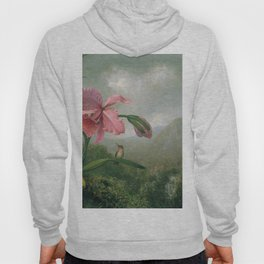 Orchid And Hummingbird Near A Mountain Waterfall 1902 By Martin Johnson Heade | Reproduction Hoody
