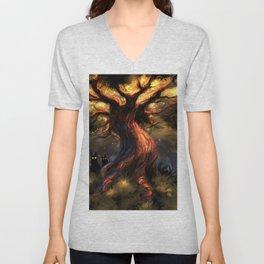 Marvelous Fantasy Woods Tree With Scary Entities Beneath UHD Unisex V-Neck