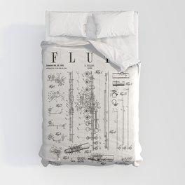Flute Vintage Patent Flutist Flautist Drawing Print Comforters