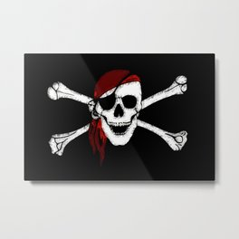 Creepy Pirate Skull and Crossbones Metal Print