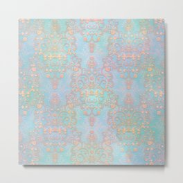 Pastel Bohemian Style Multicolored Ornate Damask Pattern Metal Print