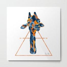 Giraffe in Blue Metal Print